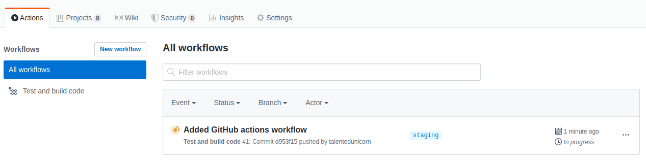 GitHub Actions running tests and build